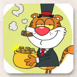 Happy Tiger With Pot Of Gold Coaster