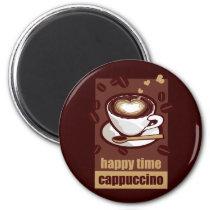 illustration, drink, coffee, bererages, art, graphic, design, heart, pop, brown, funny, humor, cute, break, caffeine, beans, happy, pop art, Ímã com design gráfico personalizado