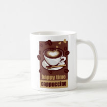 illustration, drink, coffee, bererages, art, graphic, design, heart, pop, brown, funny, humor, cute, caffeine, beans, happy, illustrations, Caneca com design gráfico personalizado