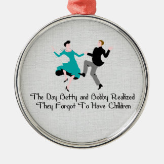 Happy To Be Child Free Round Metal Christmas Ornament