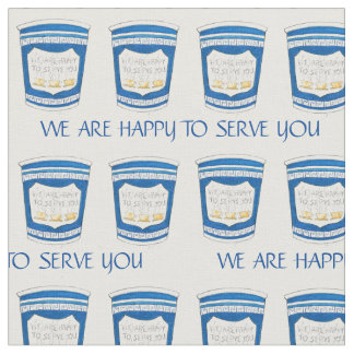 Happy To Serve You Blue Diner Coffee Cups Fabric