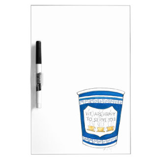 Happy To Serve You Blue Greek Coffee Cup Board