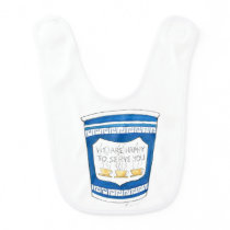 Happy to Serve You Blue Greek Diner Coffee Cup Bib