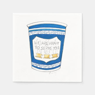 Happy To Serve You Greek Diner Coffee Cup Napkins
