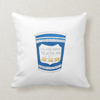 Happy To Serve You NYC Greek Coffee Cup Pillow