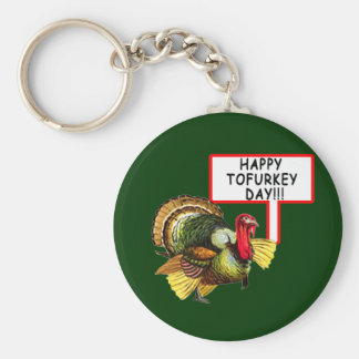 Happy Tofurkey Day! Funny Thanksgiving T shirt Basic Round Button Keychain