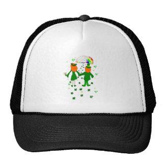 Happy together Irish couple shamrocks rainbow Hats