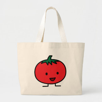 Happy Tomato Red Vegetable Fruit Large Tote Bag
