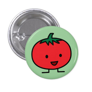 Happy Tomato Red Vegetable Fruit Pinback Button