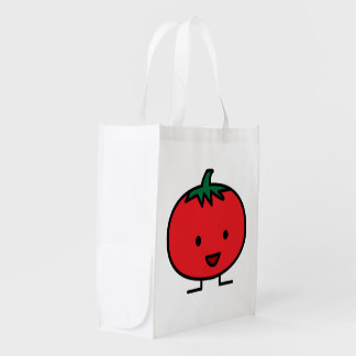 Happy Tomato Red Vegetable Fruit Reusable Grocery Bag