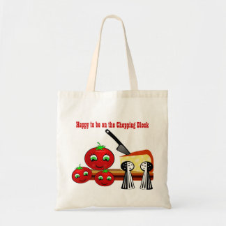 Happy Tomatoes on the Chopping Block Tote Bag