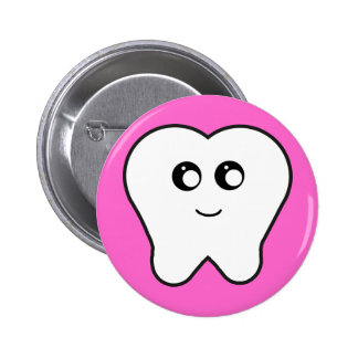 Happy Tooth 2 Inch Round Button