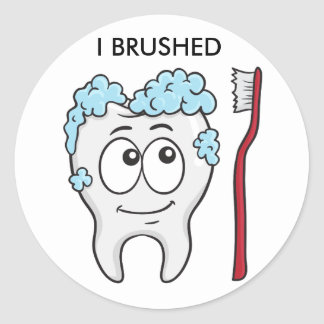 Happy Tooth And Brush Classic Round Sticker