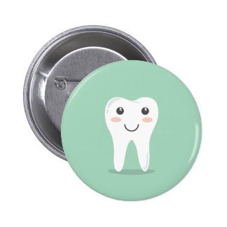 Happy Tooth cartoon dentist brushing toothbrush Button