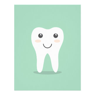 Happy Tooth cartoon dentist brushing toothbrush Letterhead