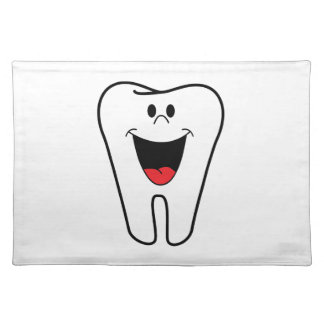 Happy tooth cartoon placemat
