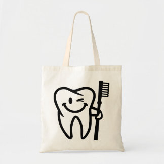 Happy tooth toothbrush tote bag