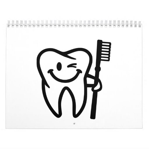 Happy tooth toothbrush wall calendars