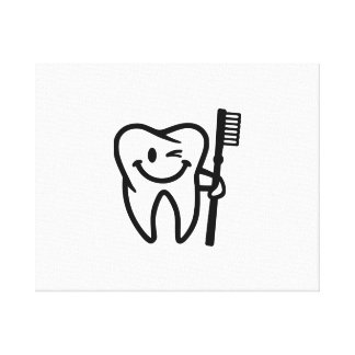 Happy tooth toothbrush gallery wrap canvas
