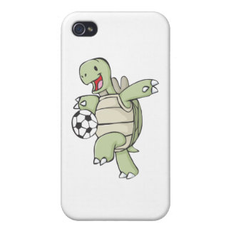 Happy Tortoise Playing Soccer iPhone 4/4S Cases