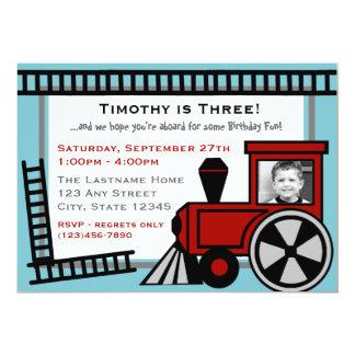 Happy Tracks Railroad Invitation/ Red 5x7 Paper Invitation Card