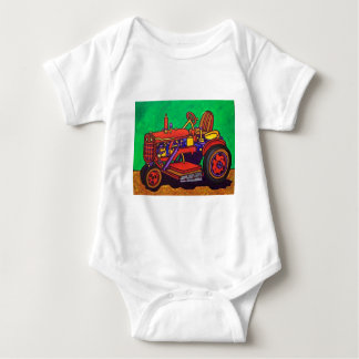 Happy Tractor by Piliero Baby Bodysuit