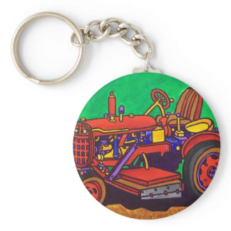 Happy Tractor by Piliero Keychain