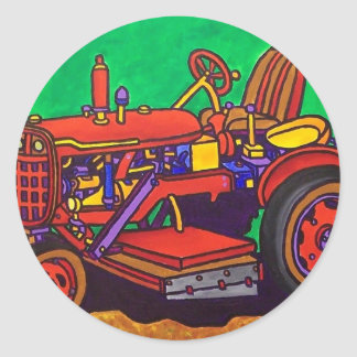 Happy Tractor by Piliero Classic Round Sticker