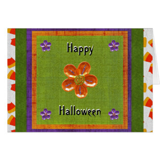 Happy Treat Filled Halloween Candy Corn Glitter Card