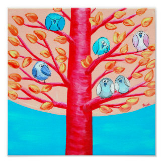 Happy Tree | Funny Whimsical Birds Poster