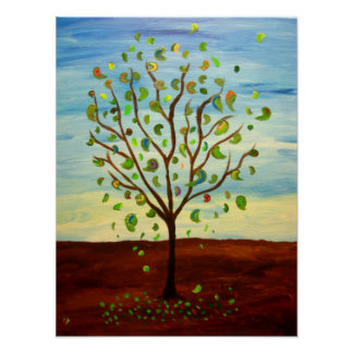 Happy Tree Landscape Poster