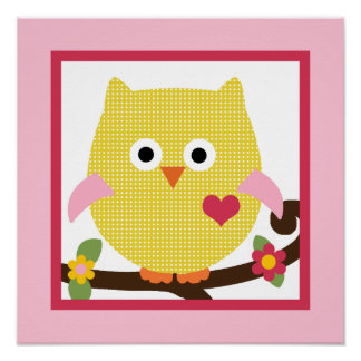 Happy Tree/Owl on Branch Poster/Print Wall Art