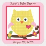 Happy Tree Owl on Branch Stickers/Envelope Seals