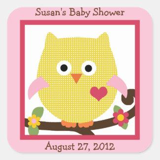 Happy Tree Owl on Branch Stickers/Envelope Seals Square Sticker