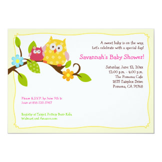 Happy Tree Owls 5x7 Baby Shower Invitation
