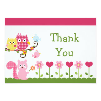 Happy Tree Owls Baby Shower Thank You Card