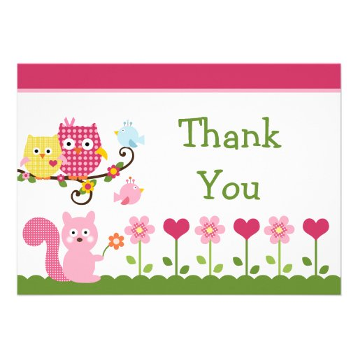Happy Tree Owls Baby Shower Thank You Card Personalized Announcements