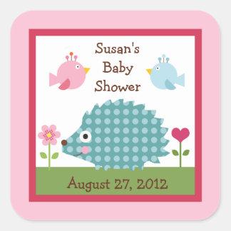 Happy Tree Owls/HedgehogStickers/Envelope Seals Square Sticker