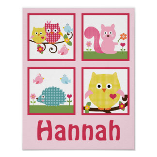 Happy Tree Owls Personalized Art Poster