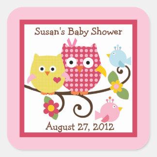 Happy Tree Owls Stickers/Envelope Seals Square Sticker