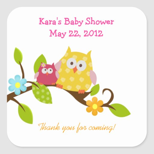 Happy Tree Owls Woodland SQUARE Favor Sticker