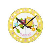 Happy Tree Owls Yellow and Pink Nursery clock