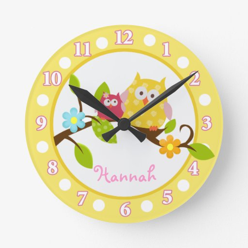Happy Tree Owls Yellow and Pink Nursery clock