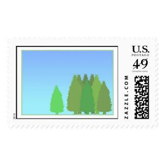 Happy Trees Postage Stamp