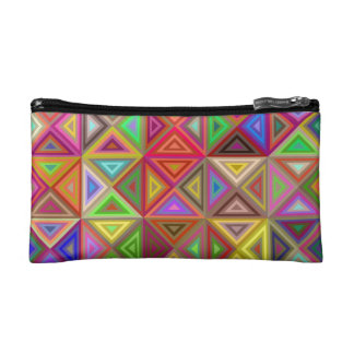 Happy triangle mosaic cosmetic bag