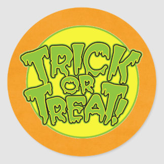 Happy trick or treat round stickers