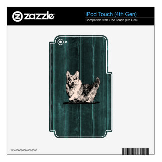 Happy Tricolor Corgi with Bone Skin For iPod Touch 4G