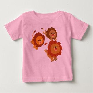 Happy Trio of Cute Cartoon Lions Baby T-Shirt