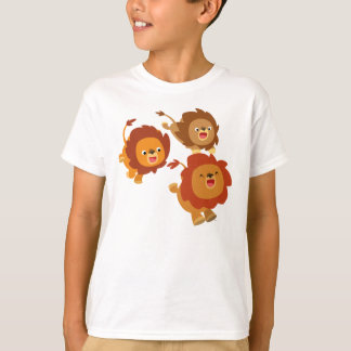 Happy Trio of Cute Cartoon Lions Children T-Shirt