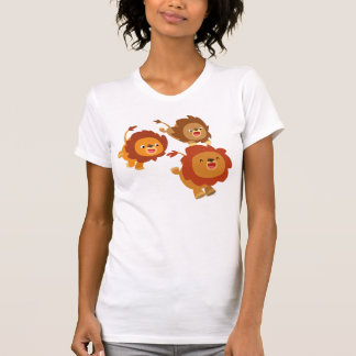 Happy Trio of Cute Cartoon Lions Women T-Shirt